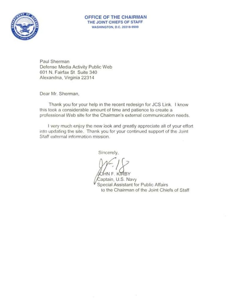 Commendation from the Office of Chairman of the Joint Chiefs of Staff