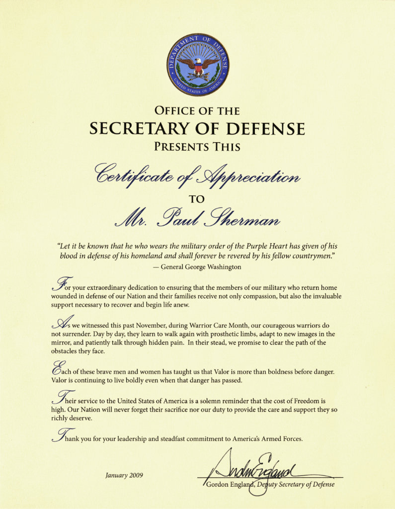 Commendation from the Office of the Secretary of Defense