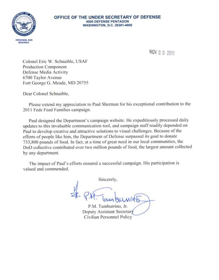 Commendation from the Office of the Under Secretary of Defense
